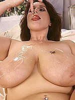 Playful mature plumper gets her 42DD's covered with cum