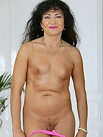 Sexy mature lady with small tits and rock hard, suckable nipples