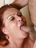 Sultry grandma with big tits gets some jizz airborne